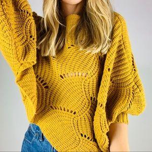 Elodie Mustard Crop Batwing Pullover Sweater S